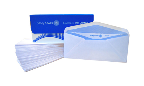Pitney Bowes Envelopes #10 Gummed White Double Window – 100 Pack