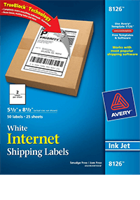 Avery 8126 Internet Shipping Labels for Inkjet Printers - 5.5 x 8.5