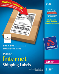Avery 5126 Internet Shipping Labels for Laser Printers - 55 x 85