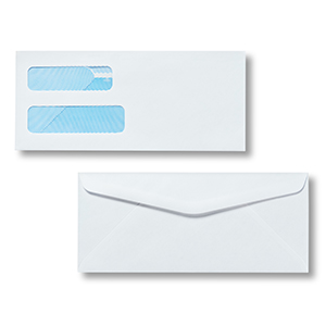 Pitney Bowes® Envelopes #10 Gummed White Double Window 24lb Security Tint