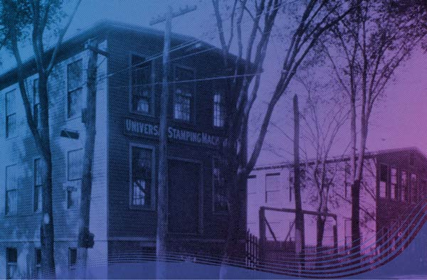 Image of original building of Universal Stamping Machine Company, colorized