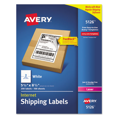 Avery 5126 Internet Shipping Labels for Laser Printers - 5.5 x 8.5