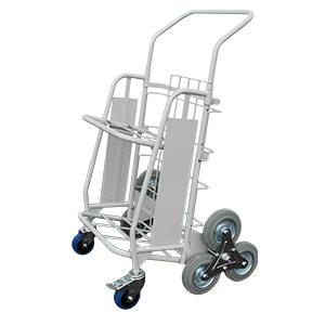 Chariot diable pliant Grand modèle - 6 roues arrière étoiles - 2 roues avant
