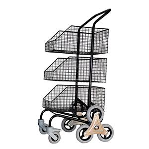 Chariot - 3 corbeilles - 6 roues etoiles arrières, 2 roues avant