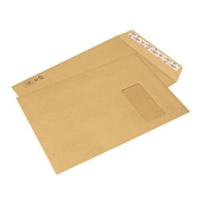 Boîte De 250 Pochettes - 229X324 (C4) - 90g - Kraft Adour - Avec Fenêtre 110X50 - Bande De Protection