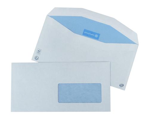 1000 enveloppes 114x229mm avec fenêtre 45x100mm fond bleu patte trapèze