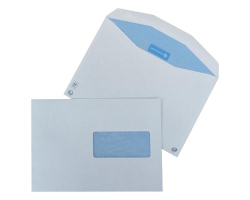 1000 enveloppes mécanisables PB avec fond bleu 162x229 (C5) 80g/m2 avec fenêtre 45x100