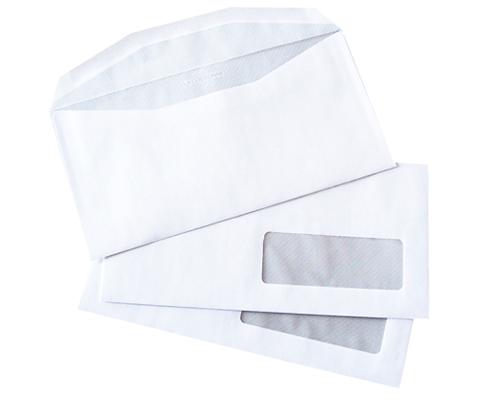 1000 enveloppes 114x229mm avec fenêtre 35x100mm fond gris patte trapèze LA COURONNE