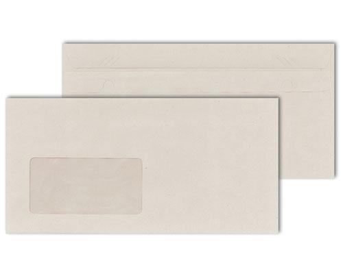 Briefumschläge DIN lang, selbstklebend, mit Fenster, 75g/m², recycel