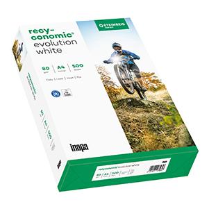 Kopierpapier RC EvolutionWhite DIN A4, 80g/qm, Blauer Engel, Recycling, 2.500 Blatt/Karton ISO 100