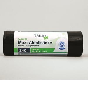 TRILine® Schwerlast-Abfallsäcke 120 l, 75mµ, blau - 10 Rollen - 15 Stk. / Rolle