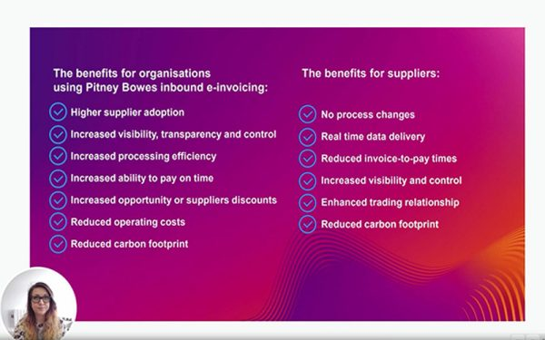 List of benefits for using Pitney Bowes inbound e-invoicing
