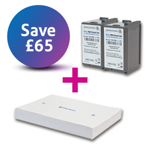 2 x Franking Ink Cartridge - Blue - DM100i, DM200i Series + Self Adhesive Franking Labels Double Sheets (1000 Labels)