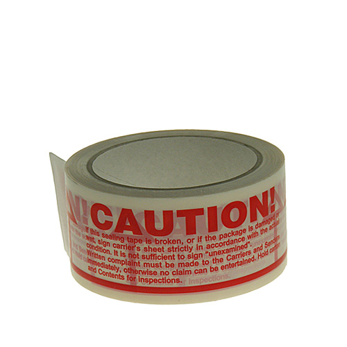 White & Red Caution Packing Tape - 48mmx66m - pk36