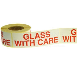 White & Red Glass With Care Warning Labels - 152mmx51mm - pk1