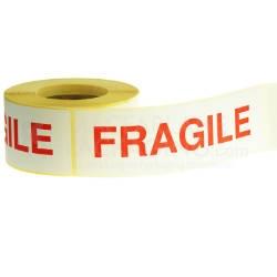 White & Red Fragile Warning Labels - 152mmx51mm - pk1