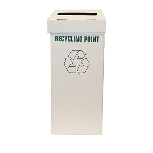 White Office Recycling Bin - 313x303x742mm - pk1