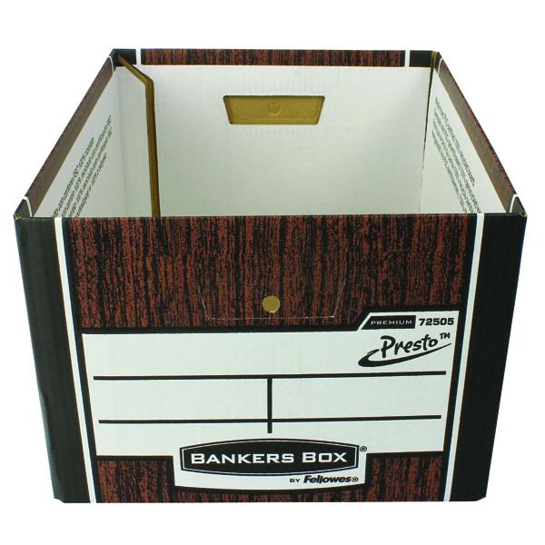 Fellowes Bankers Box Premium Presto Classic Storage Box Woodgrain (Pack of 10+2) 7250501