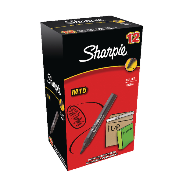 Sharpie M15 Permanent Marker Bullet Tip Black (Pack of 12) S0192582