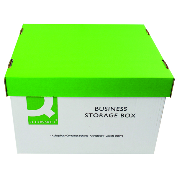 Q-Connect Green and White Business Storage Box 335x400x250mm (Pack of 10) KF21660