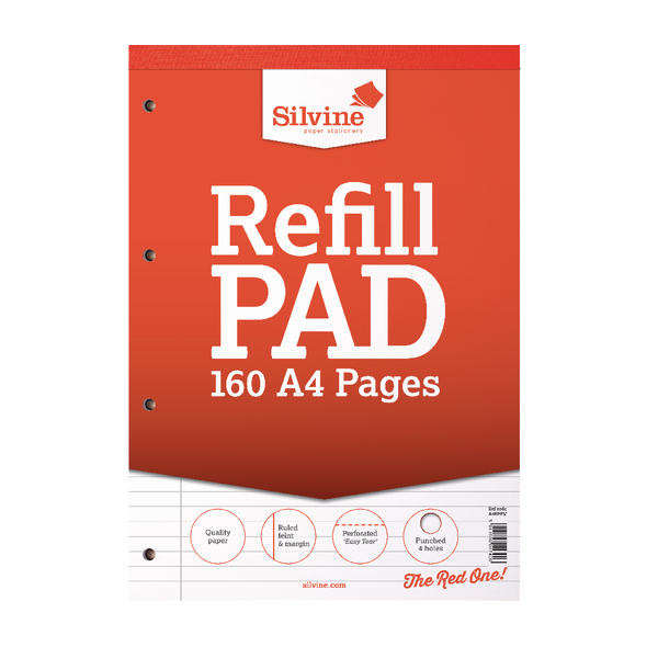 Silvine Ruled Margin Punched Headbound Refill Pad 160 Pages A4 Pad (Pack of 6) A4RPFM