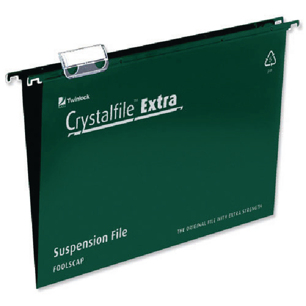 Rexel Crystalfile Extra 15mm Suspension File Foolscap Green (Pack of 25) 70628