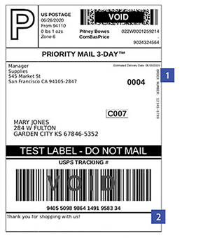 USPS shipping label with two areas for custom messages called out