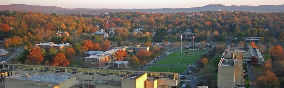 aerial view of college campus