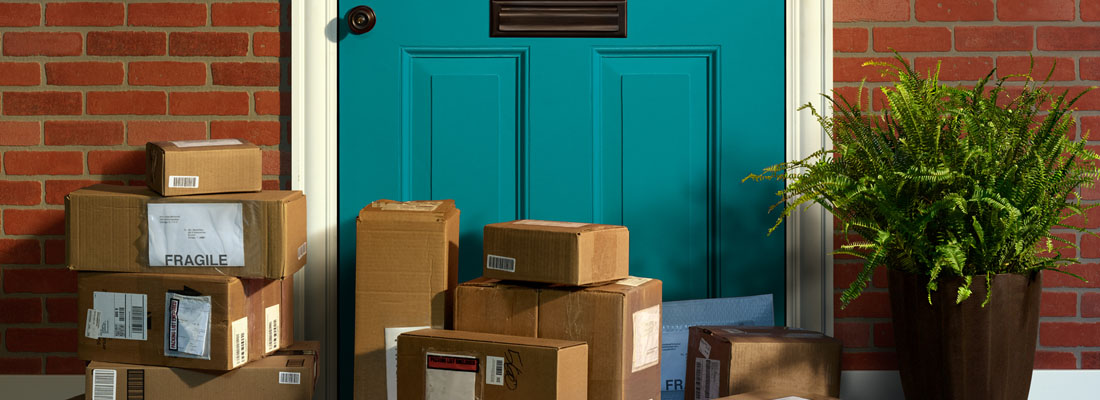Online shopping, boxes delivered to someone's front door