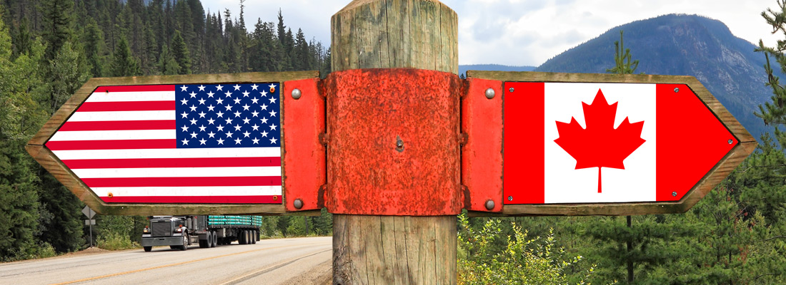 USA and Canada flags wooden sign