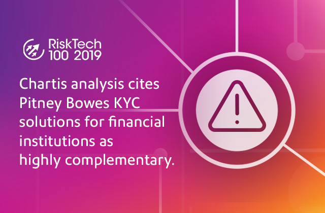 Chartis analysis cites Pitney Bowes KYC solutions for financial institutions as highly complementary.