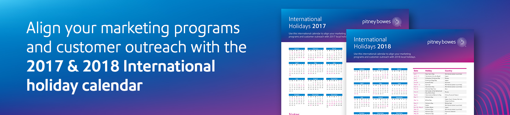 2017 & 2018 International Holiday Calendar