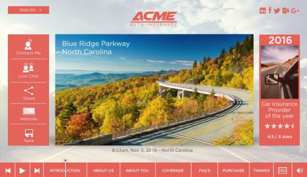 ACME Auto Insurance Quote with EngageOne Video