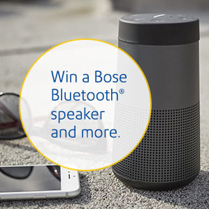Win a Bose Bluetooth speaker and more at booth 2019