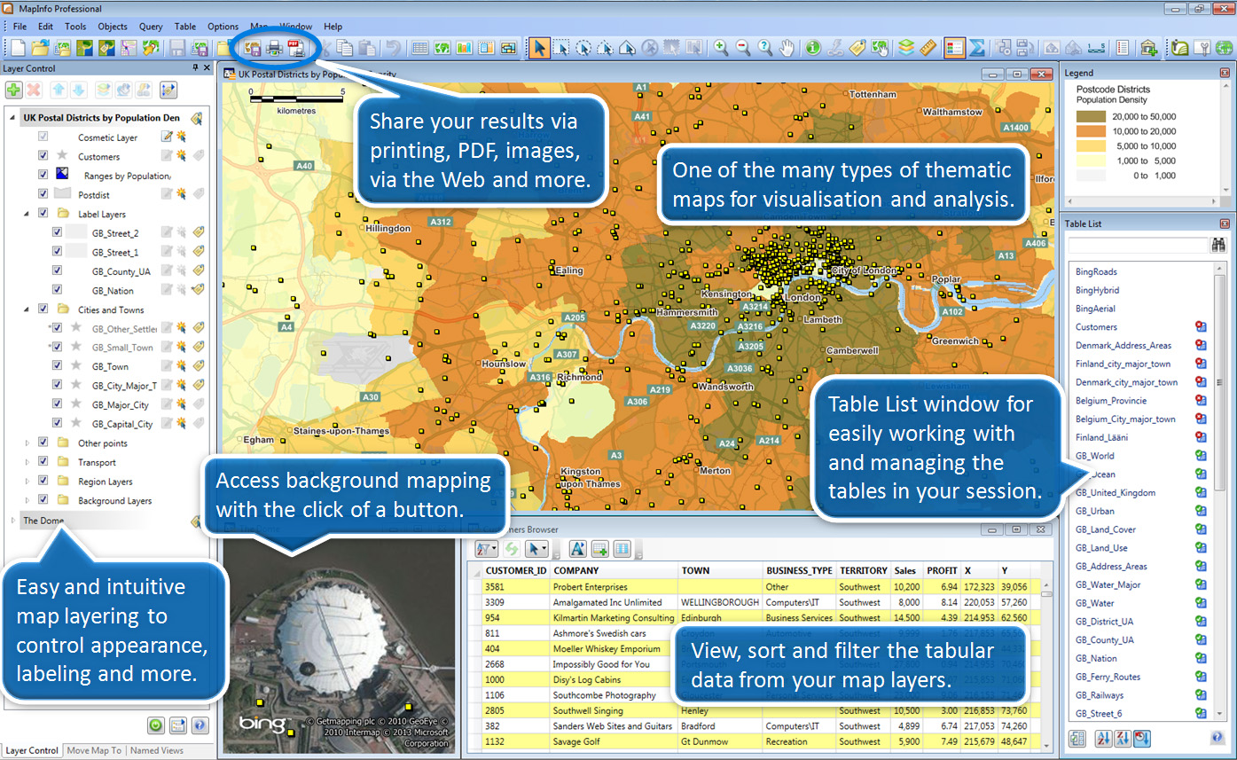 An overview of some of the basic capabilities of MapInfo Professional.