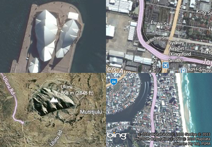 Examples of the Bing Hybrid and Bing Aerial maps.