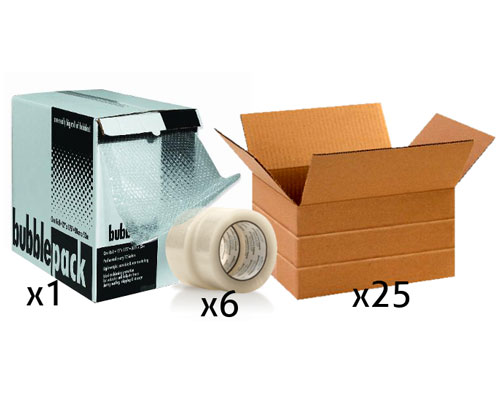 Office Shipping Bundle - Small Multi-Depth Box Tape Bubble Wrap Box