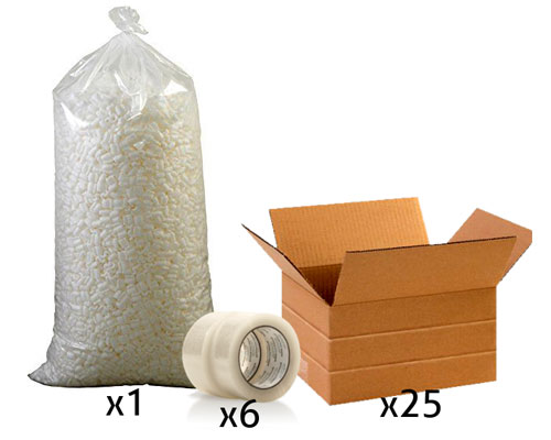 Office Shipping Bundle - Small Multi-Depth Box, Tape, Loose Fill