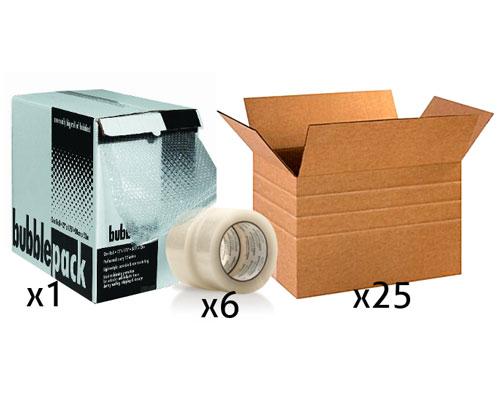 Office Shipping Bundle - Large Multi-Depth Box Tape Bubble Wrap Box