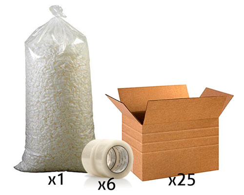 Office Shipping Bundle - Large Multi-Depth Box, Tape, Loose Fill