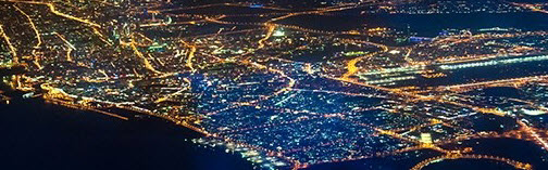 bird view of city in the night