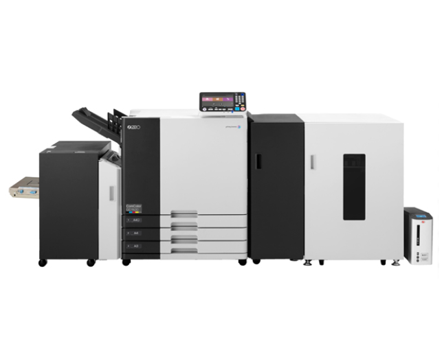 Image of GD9630 RISO ComColor Inkjet Printer with HC Feed stack and Fiery RIP