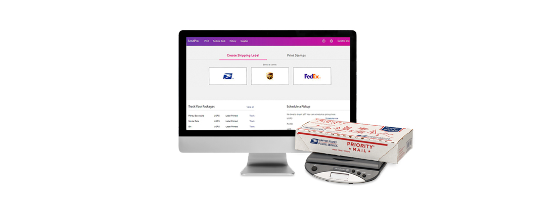 SendPro Online shipping software with package weighing scale