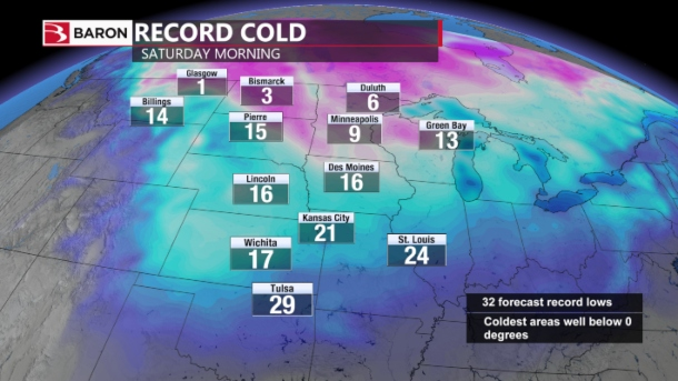 Weather map of record cold temperatures