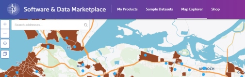 Software and Data Marketplace map explorer