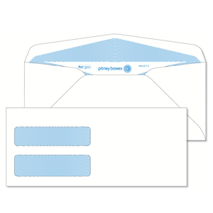 Pitney Bowes® Envelopes #9 Gummed White Double Window 24lb Security Tint