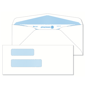 Pitney Bowes® Envelopes #9+ Gummed White Double Window 24lb Security Tint