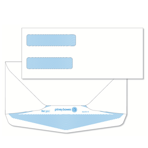 Pitney Bowes® Envelopes #9+ Gummed White Double Window 24lb Security Tint - Bottom Flap