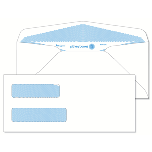 Pitney Bowes® Envelopes #10 Gummed White Double Window 24lb Security Tint
