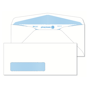 Pitney Bowes® Envelopes #10 Gummed White Window 24lb Security Tint